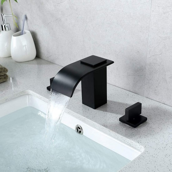 """Bathroom Sink Faucet Matte Black Waterfall Spout 3 Holes 2 Handle fit a standard 8"""" spread and above Widespread Bathroom Vanity"""
