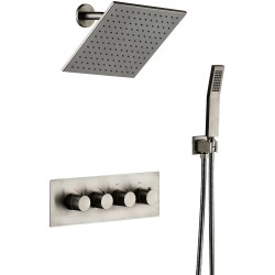 Shower Fixtures All METAL Value Included Shower System 10 inches Rainfall and Handheld can work Together Shower Faucet (Nickel Brushed)
