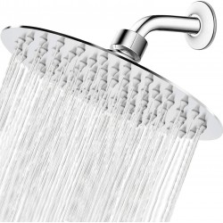 High Pressure Shower Head, 8 Inch Rain Showerhead, Ultra-Thin Design- Pressure Boosting, Awesome Shower Experience, High Flow Stainless Steel Rainfall Shower Head (Chrome Finish)