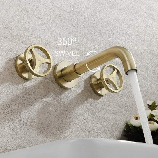 Wall Mount Bathroom Faucet Dual Handle Industrial Sink Mixer Faucet with 360° Swivel Spout and Rough in Valve Included, Brushed Gold