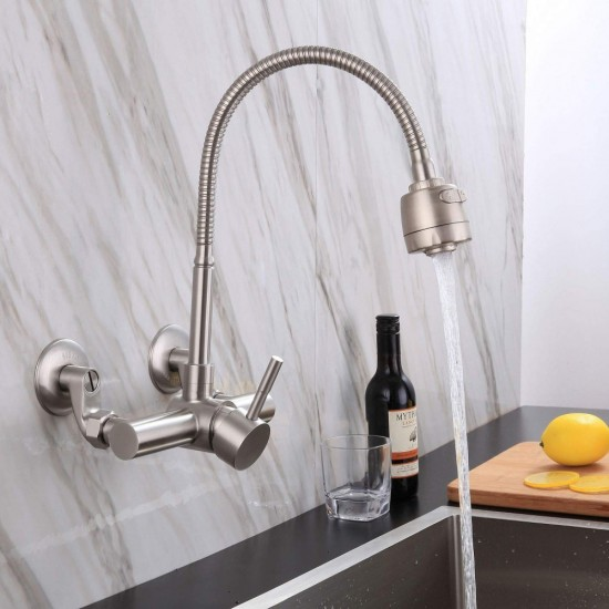 Single Handle Wall Mount Kitchen Sink Faucet,360 Degree Swivel Spray Head  with 8 Inch Hot And Cold Water Distance Holes