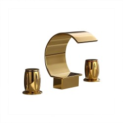 Waterfall Bathroom Sink Faucet Gold Double Handle Widespread Vanity Sink Faucet Solid Brass