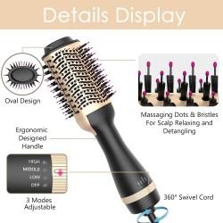 Hot Air Brush, Hair Dryer Brush Hair Dryer & Volumizer 3 in 1 Brush Blow Dryer Styler for Rotating Straightening, Curling, Salon Negative Ion Ceramic Blow Dryer Brush(Golden)