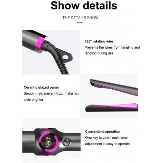 2 in 1 Hair Straightener Curling Iron, 1*4.6 inch Tourmaline Ceramic Titanium 15° Curved Plate, Anti-Frizz Professional Flat Iron Straightener Hair Styling Tools for Salon and Home Use
