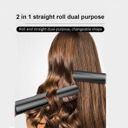 2 in 1 Hair Straightener and Curler Twist Straightening Curling Iron Professional Flat Iron Hair Styling Tools with Salon High Heat 450℉ Dual Voltage 3D Concave and Convex Titanium Plated 1 Inch