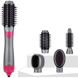 Hair Dryer Brush, Hot Air Brush Kit 4 in 1 Upgraded Interchangeable Brush Head, Hair Dryer & Volumizer with Negative Ion Reduce Frizz for Curling Drying and Straightening (Gray)