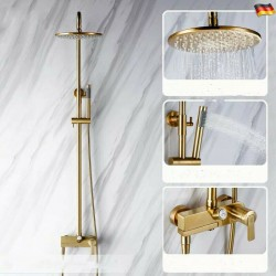 Bathroom Solid Brass Bath Shower Faucet Brushed Gold 230mm Showerhead Faucet Set