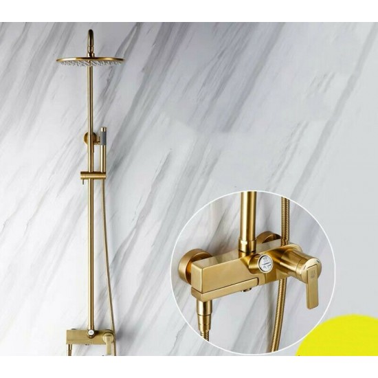 Bathroom Solid Brass Bath Shower Faucet Brushed Gold 230mm Showerhead Faucet Set