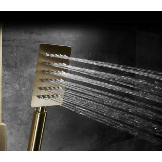 Square Brushed Gold 12 Inches Shower Head Brass Exposed Bath Tub Shower Tap Hot And Cold Faucet Set