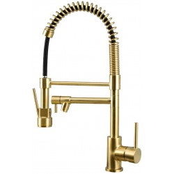 Copper Double Handle Pull Down Sprayer Spring Kitchen Faucet, Kitchen Sink Faucet (Golden)