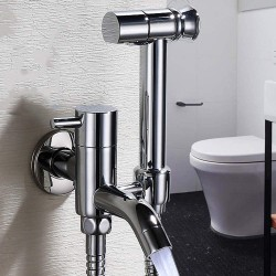 All Bronze Mop Pool Faucet Women Private Part Washer Nozzle Pressurization Spray Gun Suit Washing Ass Flusher Toilet Rinse Companion One In Two Out Water Stop Valve G1/2 Angle Valve water-tap