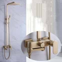 "Bathroom Champagne Gold Brass Bathtub Shower Set Wall Mounted 10"" Shower head"