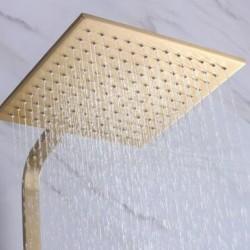 "Bathroom Champagne Gold Brass Bathtub Shower Set Wall Mounted 10"" Shower head"