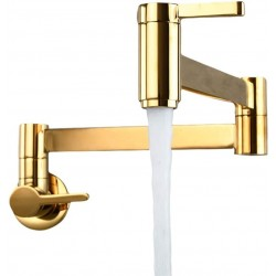 Kitchen Faucet,Wall Mount Folding Arm, Basin Bathroom Kitchen Faucet Cold Water Modern Double Switch Sink Spout Brass Tap,Titanium Gold