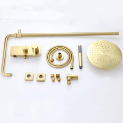 10 Inches Rain Shower System, Brushed Gold Rain Mixer Shower Combo Set Wall Mounted Exposed Bathroom Shower Faucet Set with Brass Shower Head, Handheld Shower, Tub Spout