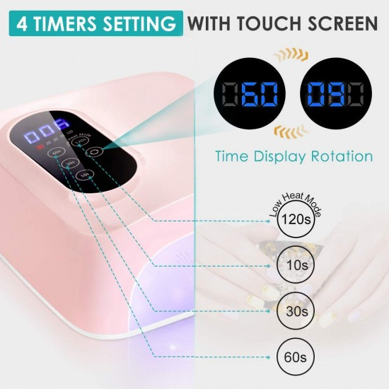 72W Cordless Led Nail Lamp, Rechargeable UV LED Nail Dryer, 15600mAH Wireless Fast Nail Polish Curling Lamp,Professional Gel Nail Lights Nail Art Manicure Tools for Home and Salon(Rechargeable)