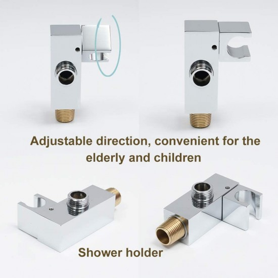 Brushed Gold Shower System Waterfall Tub Spout Faucet Set With 12 Inch Wall Mounted Rainfall Shower Head Shower Set