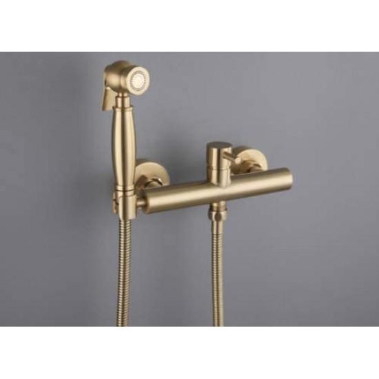 Bidet Sprayer Mixer Valve Set-Brushed Gold Brass Handheld Bidet Baby Cloth Diaper Shattaf +Brass Hot and Cold Mixer valve+304 Stainless Steel Hose For Bathroom Toilet