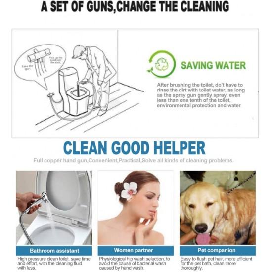 Hand Held Bidet, Handheld Bidet Spray Gold Muslim Cloth Diaper Spraye Kit Set for Rear Washing, Pet Bath, Closestool, Squatting Pan, Water Flower, Floor Cleaning