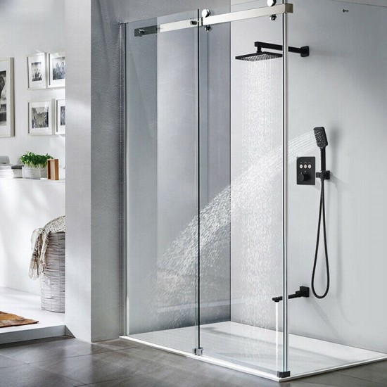Black Brass Showers Systems Bathroom Conceal Wall Mounted Rain Shower Faucet Set