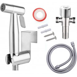 Stainless Steel Handheld Bidet Sprayer for Toilet, Spray Attachment with Hose for Feminine Wash, Baby Diaper Cloth Washer, Bidets Faucet Cleaner and Shower Sprayer for Pet
