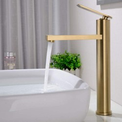 12 Inch Brush Gold Widespread Bathroom Sink Faucet Long Spout Reach Waterfall Lavatory Vessel Tub Filler Faucet Combo Singkle Handle One Hole