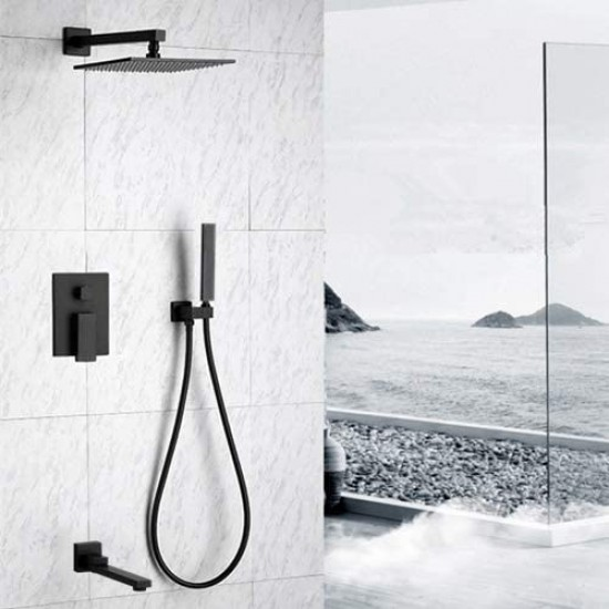 10 Inch Rain Shower Head System with Foldable Tub Spout and Handheld Wall Mounted, Bathroom Luxury Black Brass Shower Faucet Complete Set, Mixer Valve Included