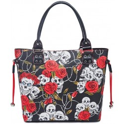 Handbag Women's Ladies Skull Print Casual Hobo Canvas Daily Top Handle Bag Vintage Large Capacity Shoulder Tote Shopper Bag