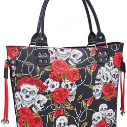 Handbag Women's Ladies Casual Hobo Canvas Daily Top Handle Bag Vintage Large Capacity Shoulder Tote Shopper Bag Skull Print