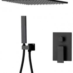 Bathroom Brass 10 Inch Black Rainfall Shower System Combo Set