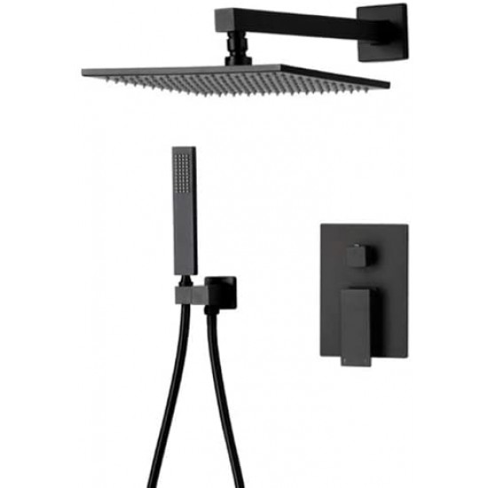 Bathroom Brass 10 Inch Black Rainfall Shower System Combo Set