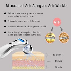 4D Microcurrent Face Massager Roller, Electric Face Lift Beauty Facial Roller Body Massage for Anti Aging Wrinkles, improve Facial Contour