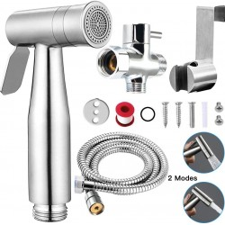 Bidet Toilet Sprayer Set Handheld with Dual Mode Spray Head (Jet/Soft) Premium Brushed Stainless Steel Sprayer for Bidet Attachment, Baby Cloth Diaper Sprayer Set, Bathroom Toilet Clean