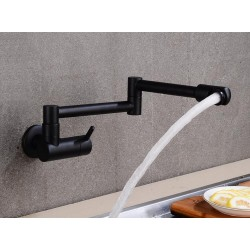 360 Degree Rotating Single Cold Wall Tap Basin Sink Cold Kitchen Faucet Cold Faucet Water Tap Faucet Black