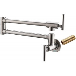 Pot Filler Faucet Wall Mount,Brushed Nickel,with Double Joint Swing Arms,Single Hole, 2 Handles with 2 cartridges to Control Water(Brushed Nickel
