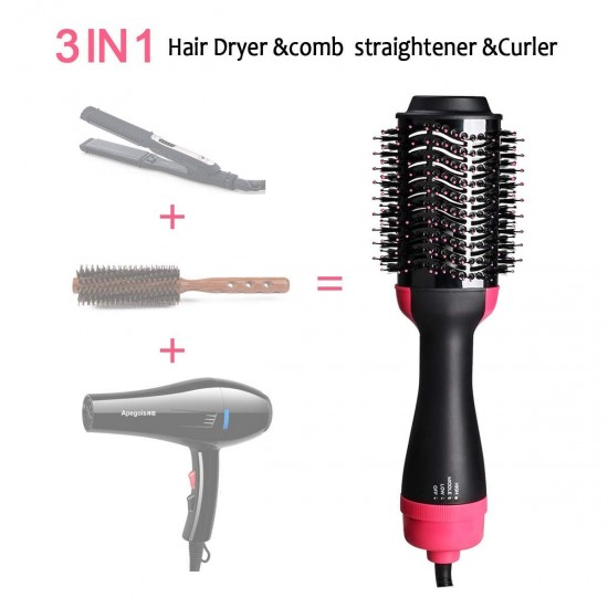 Hair Dryer Brush, Hot Air Brush 3 in 1 One Step Hair Dryer and Styler Volumizer for Straightening, Curling, Salon Negative Ion Ceramic Blow Dryer Brush for All Hair Types