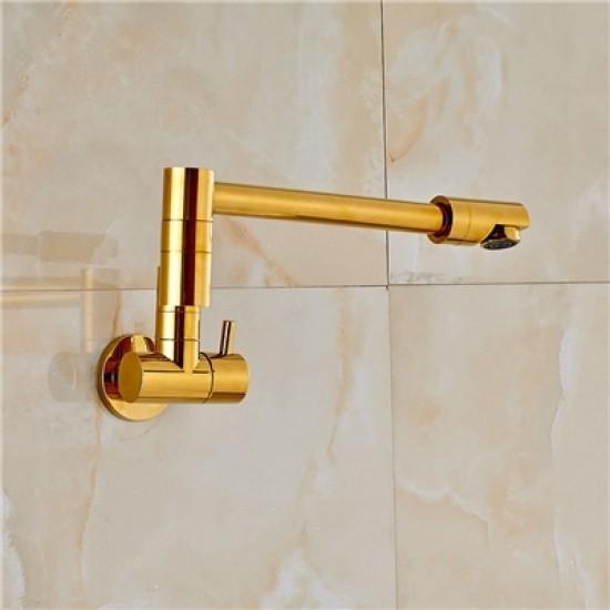 Gold Pot Filler Kitchen Faucet Wall Mount Foldable Kitchen Tap