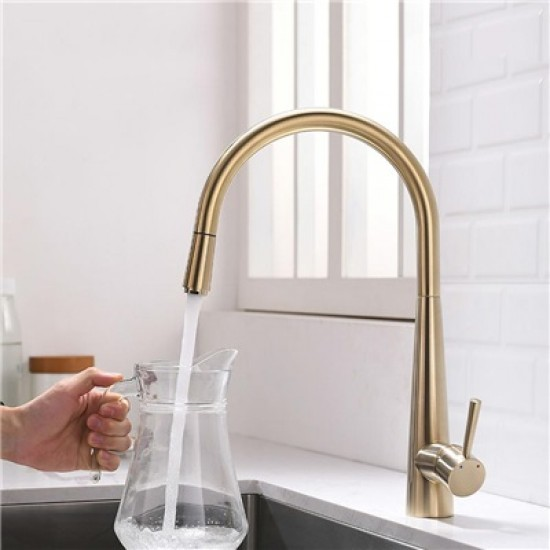 Brass Pull-Out Kitchen Faucet Brushed Gold Curved Kitchen Sink Tap