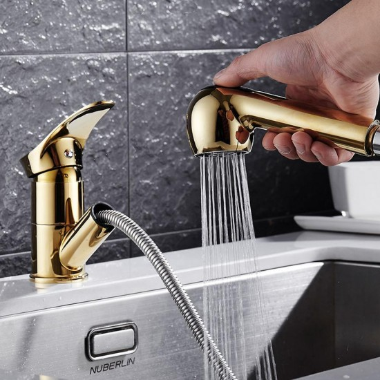 Brass Kitchen Faucet Pull-Out Kitchen Sink Mixer Tap Gold