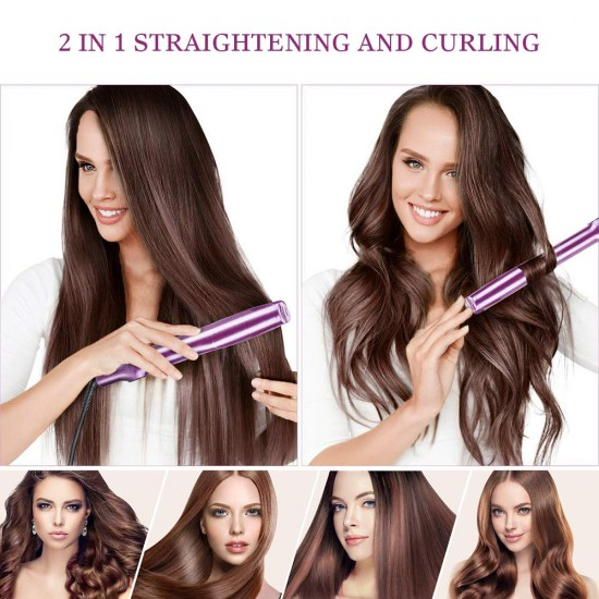 Hair Straightener & Curler 2 in 1,Auto Rotating Ceramic Twisted Curling Straightening Flat Iron, Hair Curler for Travel, Fast Heating Hair Styling Tools with Adjustable Temperature in 4 Gears