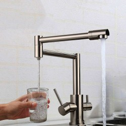 Kitchen Faucet Dual Handle Drinking Water Filter Dot Brass Purifier Vessel Sink 360 Degree Rotating Folding Spout