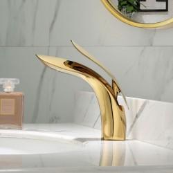 Bathroom Faucet Single Handle One Hole Bathroom Vessel Sink Faucet Deck Mount Lavatory Faucet, Nickel Brushed