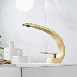 Brushed Gold Basin Faucet Single Handle Mixer Tap Waterfall Bathroom Sink Faucet Washbasin Mixer Tap Crane For Bathroom