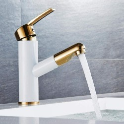 Basin Faucet White Painting Golden Basin Sink Faucets Pull Out Spout Single Handle Mixer Tap Deck Mounted