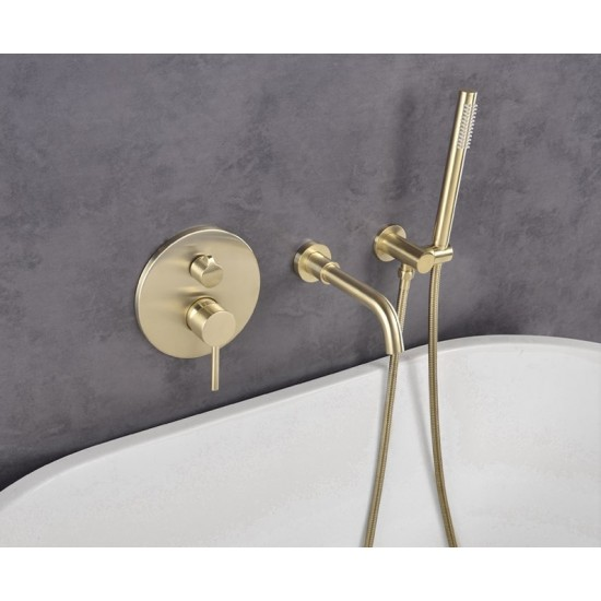Bathroom Shower Brushed Gold Bathtub Shower Faucet Wall Mount 360 Rotation Spout Shower Brass Handshower Bathroom Shower System Tap,Full Set