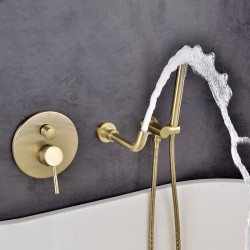 Bathroom Shower Brushed Gold Bathtub Shower Faucet Wall Mount 360 Rotation Spout Shower Brass Handshower Bathroom Shower System Tap,Full Set