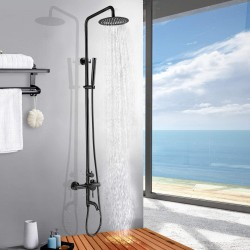 Outdoor Matte Black Shower Faucet SUS304 Stainless Steel Shower Fixture 8 Inch Rainfall Shower Head System with Bathroom Handheld Shower and Tub Spout Set