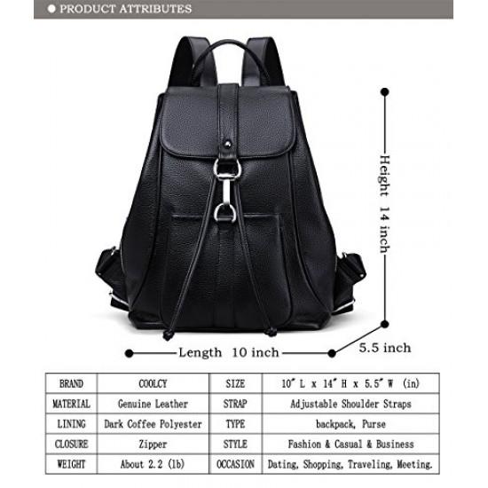 New Women Real Genuine Leather Backpack Purse vintage SchoolBag (Black)