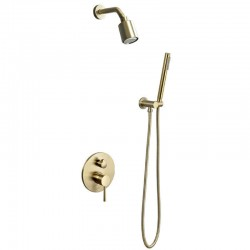 Brushed Gold Shower Faucet Set Wall Mount Rainfall Shower Tap W/Embedded Valve