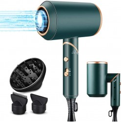 Ionic Hair Dryer, 1800W Professional Blow Dryer with Powerful AC Motor, Green Foladable Hairdryer with 2 Nozzles and 1 Diffsuer for Home, Travel, Salon and Hotel